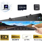 Karsuite M9 12 Inch Mirror Dash Cam 2560x1440P Backup Camera with GPS Touch Screen Front and Rear View