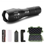 PeakPlus Tactical Flashlight with Rechargeable Battery & Charger