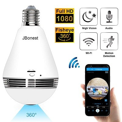 JBonest 1080P WiFi Camera Light Bulb Panoramic Camera with IR Motion Detection
