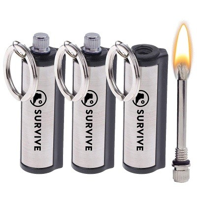 refillable petrol lighter with key ring and replacement material com-four/® mini lighter for camping outdoor and as a key ring