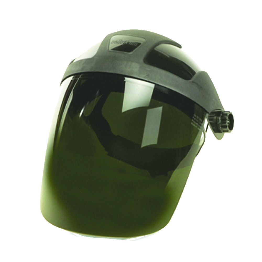 Sellstrom S32030 DP4 Series Grinding Faceshield, Black Crown, Shade 3 UV/IR Polycarbonate Window with Ratchet Headgear