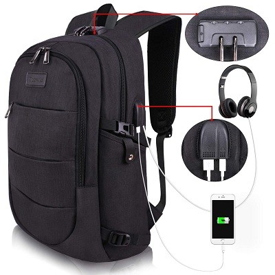 Tzowla Travel Laptop Backpack Water Resistant Anti-Theft Bag with USB Charging Port and Lock
