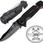 ANVIL BLADESMITHS - BULLSHARK G-10 8CR13 Knife w/Glass Breaker and Seatbelt Paracord Cutter
