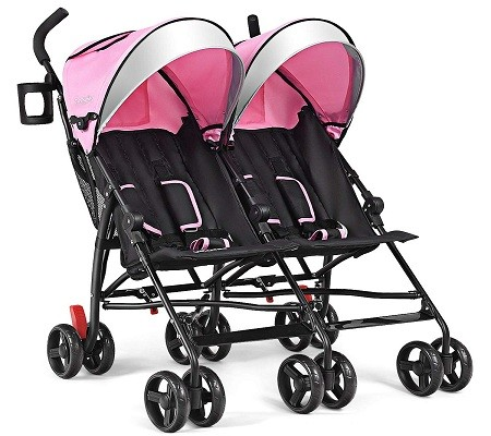 BABY JOY Double Light-Weight Stroller, Twin Umbrella Stroller with 5-Point Harness - Sun Canopy for Baby