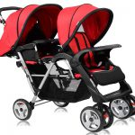 Costzon Double Stroller, Twin Tandem Baby Stroller with Adjustable Backrest and 5 Points Safety Belts