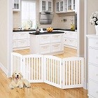 PAWLAND Wooden Freestanding Foldable Pet Gate for Dogs